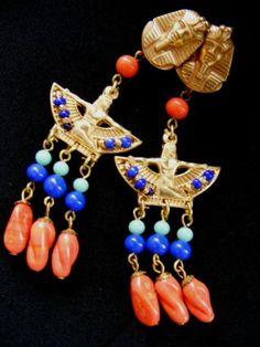 Fabulous Vtg MIRIAM HASKELL Egyptian Revival Pharaoh Necklace and Earring Set