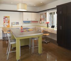 Contemporary basement work space