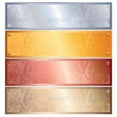 Metallic Plates, Banners. Vector Image