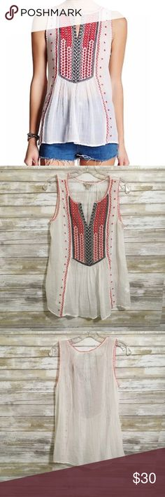 """Lucky Brand Embroidered Bib Blouse, Women's Small Lucky Brand Embroidered Bib Blouse, Women's Small  Great Condition, no stains, flaws, etc.  Bust (armpit to armpit) 20"""" Length 27"""" from shoulder seam Lucky Brand Tops"""