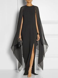 Stylish Cape Sleeve High Slit Maxi Dress