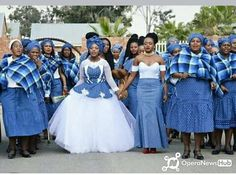 Check out these beautiful Ankara inspired wedding gowns-operanewsapp Setswana Traditional Dresses, South African Traditional Dresses, Traditional Wedding Attire, African Print Dresses, African Fashion Dresses, African Dress, African Clothes, African Prints, African Style
