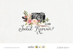 custom logo design photography logo floral camera logo watercolor flower boutique logo
