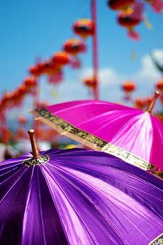 pink purple umbrellas