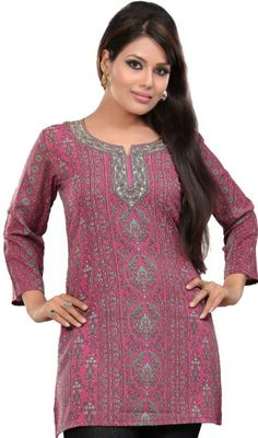 Amazon.com: Indian Tunic Top Womens Kurti Printed Blouse India Clothing: Clothing
