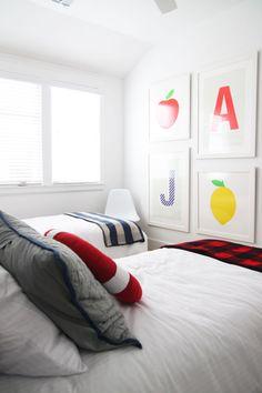 @psstudio Kids bedroom at lake house with custom monogrammed prints, gallery wall, kids bedroom, boys bedroom, Carlton Landing, lake house design, www.pencilshavingsstudio.com