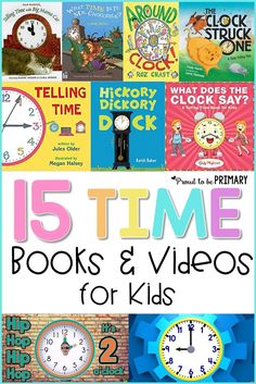 Teach telling time, using engaging children's books and videos. Take a look at these great titles and bring life and fun to your Math lessons! Great for kindergarten, first grade, second grade! #tellingtime #timelessons #teachingmath #timebooks #timevideos #timeactivities