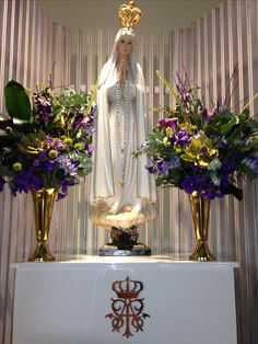 Advent flowers at The Blessed Virgin Mary, Our Lady of Fatima. Thank you to the Ladies Altar Society. St James Catholic Church, Gulfport, MS
