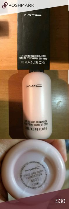 Face And Body Foundation  Mac Nc35 A comfortable, lightweight fluid foundation with a unique blend of emollients that delivers low-to-medium buildable coverage and a natural satin finish. The moisturizing, long-wearing formula glides onto face and body providing stay-true colour. The price firm no change no offer the shipping 2-3day  new in box never used  NBI  Made in Canada maccosmetics.com MAC Cosmetics Makeup Foundation