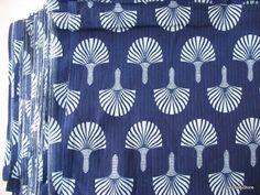 Indigo Cotton Fabric Screen Printed Fabric Sold by Yard