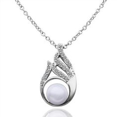 18K White Gold Plated Pearl Centered Right Winged Teardrop Pendant Necklace