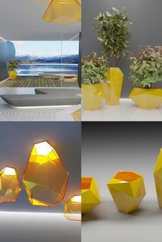 POLY vases & lights by Alex Petunin Vase With Lights, Contemporary Sculpture, Futuristic Design, Lighting Design, Vases, Table Lamp, Furniture, Home Decor, Light Design