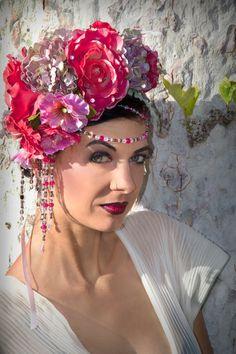 Beaded floral headdress /The Garden At Dusk by TheSistersBrimm