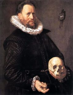 Portrait of a man holding a skull. circa 1611