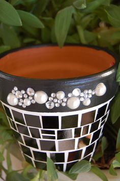 Holiday Cheer :) A touch of Bling dresses up this little black planter / container for yourself or Gift Giving! Black hand cut stained glass pieces