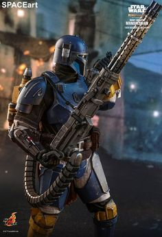 Star Wars - The Mandalorian: Heavy Infantry Mandalorian, Deluxe Figure (fully articulated), Hot Toys Star Wars Pictures, Star Wars Images, Star Wars Clone Wars, Star Wars Art, Star Wars Toys, Star Trek Gifts, Mandalorian Cosplay, Armas Ninja, Star Wars Collection