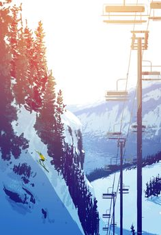Tahoe | Illustrator: TBD [Scenery - Mountain - Snow - Skiing]