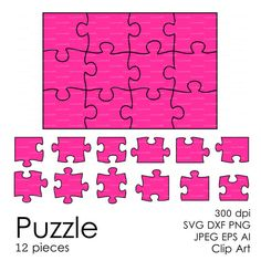 Puzzle 12 pieces svg dxf eps ai png Vector by EasyCutPrintPD