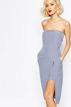 """The Cool Girl's Guide To Bridesmaid Dresses #refinery29  http://www.refinery29.com/fashionable-bridesmaid-dresses#slide-16  Proof you can wear pastel without looking like an Easter egg.Lavish Alice Bandeau Bodycon Midi Dress, $88.96, available at <a href=""""http://www.asos.com/Lavish-Alice/Lavish-Alice-Bandeau-Bodycon-Midi-Dress-with-Neckline-Detail/Prod/pgeproduct.aspx?iid=5951055&cid=8857&sh=0&pge=7&pgesize=36&sort=-1&clr=Blue&totalstyles=1290&gridsize=3&r..."""