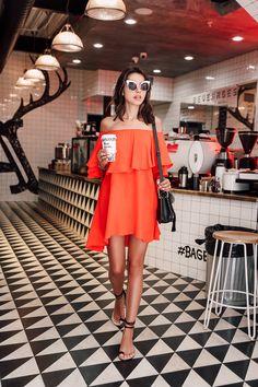 Orange Off The Shoulder Dress.