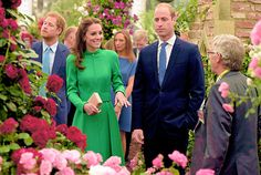 The Duke & the Duchess of Cambridge and Prince Harry visited the Chelsea Flower Show to mark the Queen's 90th birthday: it was the first time for the couple while Prince Harry has been ivolved beforse as a garden was designed for Sentebale. | May 23rd, 2016