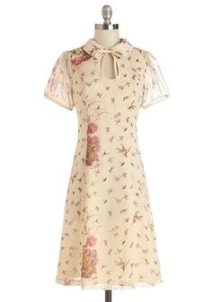 Ask for the Tune Dress - Cream, Pink, Brown, Floral, Print with Animals, Tie Neck, Casual, Short Sleeves, Summer, Woven, Good, Collared, Lon...