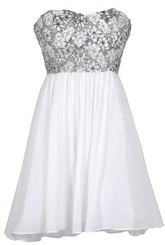 Stars In The Sky Sequin Lace Overlay Designer Dress by Minuet in White