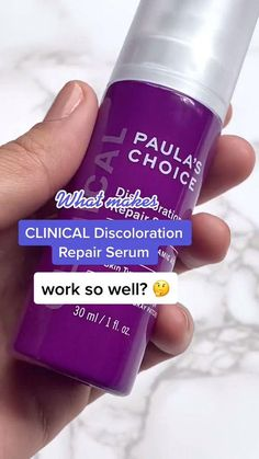 What makes our CLINICAL Discoloration Repair Serum work so well? 3% tranexamic acid visibly fades & prevents dark spots, 0.5% bakuchiol targets the causes of unwanted color changes & 5% niacinamide helps break up discoloration. Shop at Paula's Choice. Uneven Skin Tone, Face Serum, Dark Spots, Drink Bottles, Breakup, Clinic, Brown And Grey, Paula's Choice