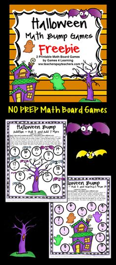 FREEBIE - Halloween Math Bump Games by Games 4 Learning