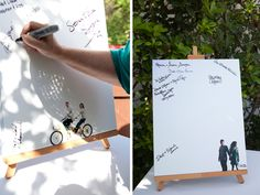 """Such a cute spin on the traditional """"guest sign the photo mat"""" thing!  I love the idea of getting a canvas of your favorite engagement photo, but with a ton of white space for signatures!"""