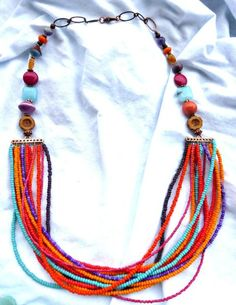 Necklace is lightweight and made with multi layers of fun! Glass beads, copper metal, ceramic, Czech glass and gemstone, stone. Necklace is currently sized 24 inches long. As with all of my jewelry th Macrame Necklace, Seed Bead Necklace, Gemstone Necklace, Seed Beads, Turquoise Necklace, Jewelery, Jewelry Necklaces, Diy Jewellery, Bracelets