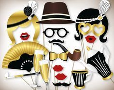 Gatsby photo booth props printable PDF. Great Gatsby props. New years photo…