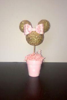 Rosa y oro brillo Minnie Mouse inspirado centro de mesa por AmyJays