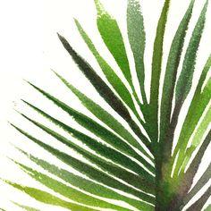 Banana leaf watercolor painting Tropical art Fan palm leaf by colorZen | Etsy