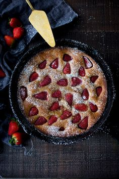 Strawberry Breakfast Cake- a sweet treat for a brunch. GF Adaptable