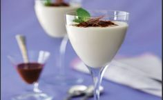 White Chocolate Panna Cotta With Dark Chocolate Sauce Recipe This dessert is beautiful for dinner parties or holiday gatherings. Panna cotta is a delicate eggless custard. Dark Chocolate Sauce Recipe, White Chocolate Panna Cotta, Delicious Chocolate, Chocolate Desserts, Chocolate Morsels, Decadent Chocolate, Mousse, Party Desserts, Dessert Recipes