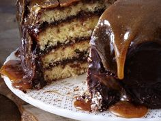 Recipe: Yellow Cake with Chocolate Frosting and Caramel Top from 'Old School Comfort Food'. [Photo: Squire Fox]