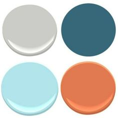 "BENJAMIN MOORE: STONINGTON GRAY, POOLSIDE (not to be confused with Poolside Blue""), ORIOLE, BLUE SEAFOAM"