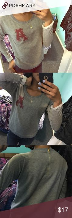 """Cute varsity """"A"""" sweater Cute gray and red sweater, has a working zipper on the back, size small H&M Sweaters Crew & Scoop Necks"""