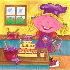 Gertie bakes a Cake! Rhyming Words, My Books, Little Girls, Vibrant, Fish, Adventure, Cake, Illustration, Painting