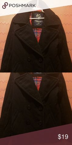 ❤❤ American Eagle Pea coat- Black Medium Normal wear. No holes, rips or stains. 😊 American Eagle Outfitters Jackets & Coats Pea Coats