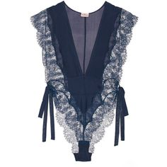 Agent Provocateur Willa silk-chiffon and Leavers lace bodysuit featuring polyvore, fashion, clothing, intimates, shapewear and navy
