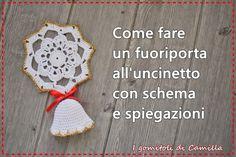 fuoriporta natalizio a uncinetto Crochet Snowflake Pattern, Crochet Snowflakes, Crochet Earrings, Projects To Try, Crochet Hats, Diy Crafts, Knitting, Camilla, Blog