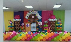 Amazing candy decor love the colors Candy Themed Party, Candy Land Theme, Birthday Party Themes, Candyland, Balloon Wall, Balloon Backdrop, Dance Decorations, Balloons And More, Candy House