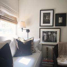 The #mediaroom is coming together! #art #blackandwhitephoto #wallsconces #lighting #romanshades #linen #white #whitesofa #customfurniture #wicker #brass #designbooks #scalamandre #letigre #velvet #sunlight #love #fabric #decor #design #decorator #designer #apartmentdecor #apartmentliving