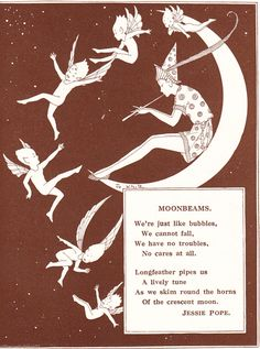 FAIRIES & Elf on Crescent MOON Stars Sky DANCING Vintage 1929 MATTED Picture | eBay