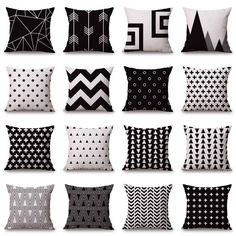 Black White Sofa Pillow Case Cotton Linen Fashion Throw Cushion Cover Home Decor #Unbranded #FashionSimple