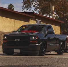 Chevy Trucks Lowered, Custom Chevy Trucks, Gm Trucks, Cool Trucks, Chevy Pickup Trucks, Silverado Single Cab, Single Cab Trucks, Silverado Truck, Dream Cars