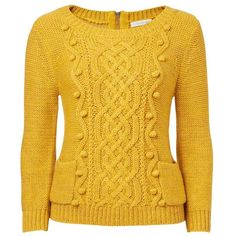 Forever New Anastasia Cable Sweater ($43) ❤ liked on Polyvore featuring tops, sweaters, shirts, yellow, pom pom shirts, zipper shirt, metallic sweater, metallic shirt and pocket long sleeve shirt