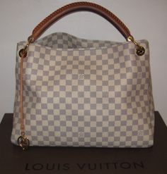 Louis Vuitton damier azur 'Artsy GM' tote. Open top tote with single thick leather braided strap. Features outside ring attachments. Suede lining with multiple open & zip pockets.